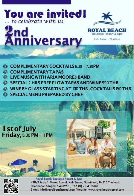 You are invited to  the 2nd Anniversary of Royal Beach Samui | Samui Times