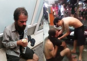 thai men take of shirts for homeless falang