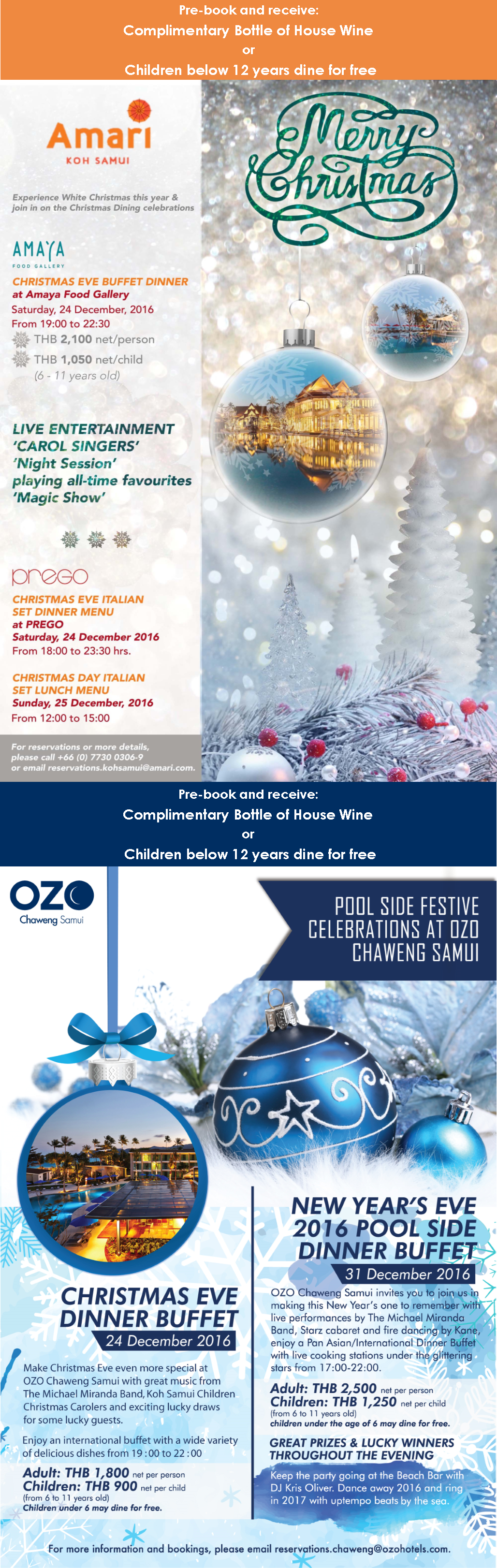 Amari and OZO Festive Season (Exclusively for Dining Card Members) | Samui Times