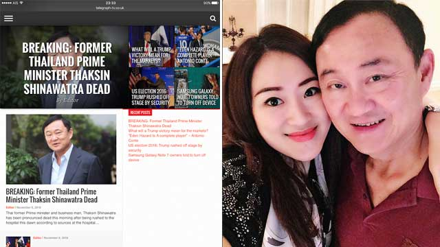 """Reports of his death are greatly exaggerated!"" Thaksin lives, says daughter 