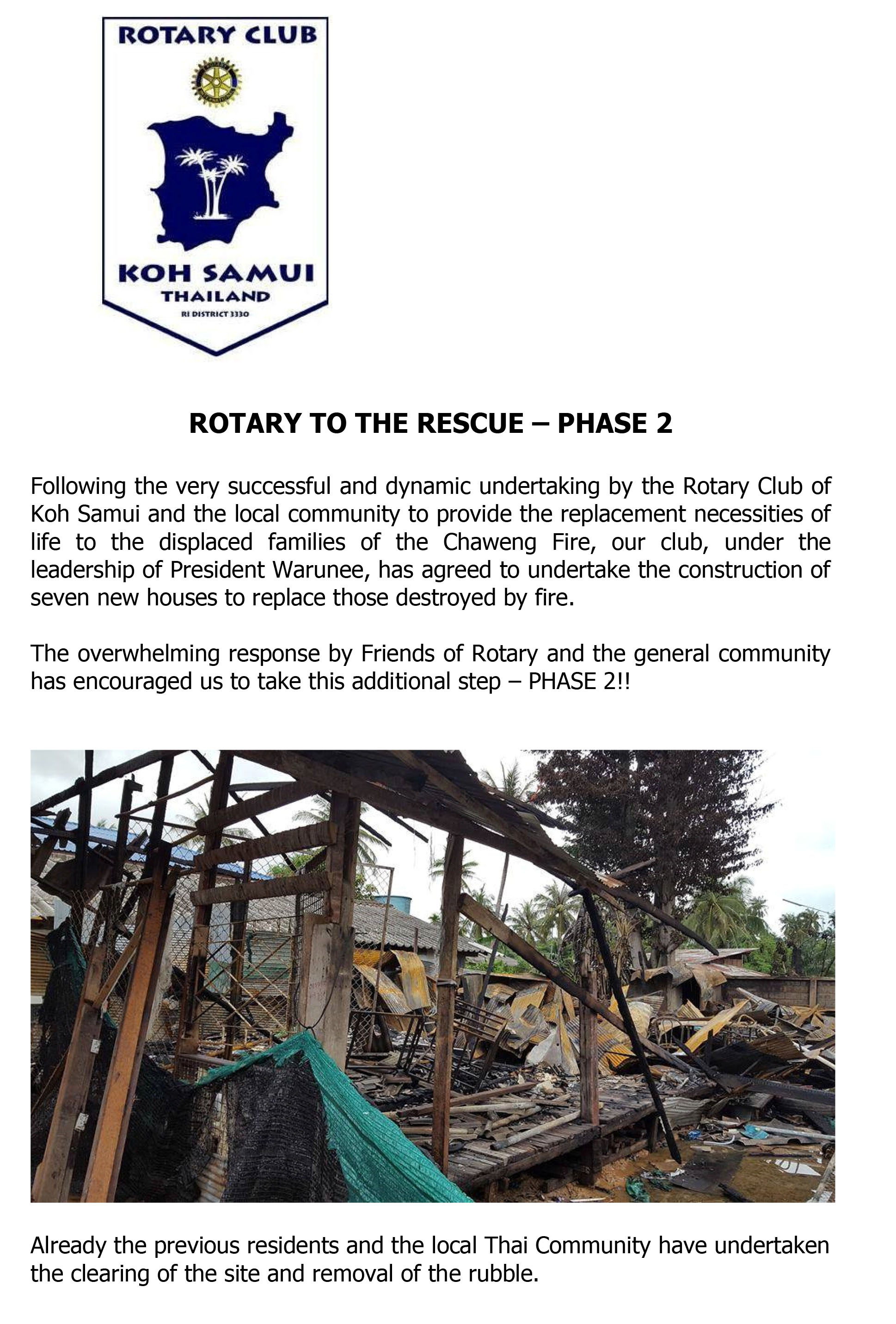 ROTARY TO THE RESCUE – PHASE 2 | Samui Times