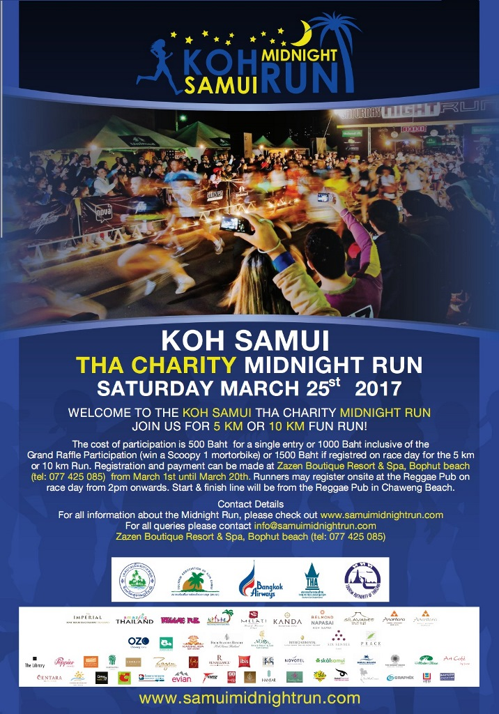 The Koh Samui THA Midnight Run 2017 is confirmed and will depart & finish from the Reggae Pub in Chaweng Beach on Saturday March 25th 2017 !!! | Samui Times