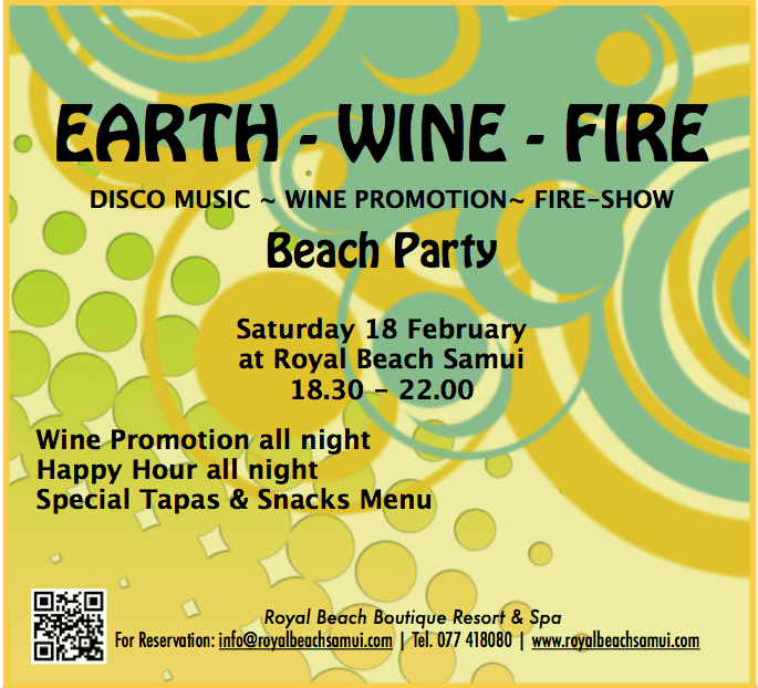 Beach Party at Royal Beach Boutique Resort & Spa Saturday 18 February | Samui Times
