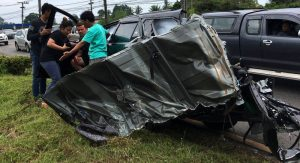 Driver dead, French tourists 'critical' after 10-wheeler slams SUV in Krabi   News by Samui Times