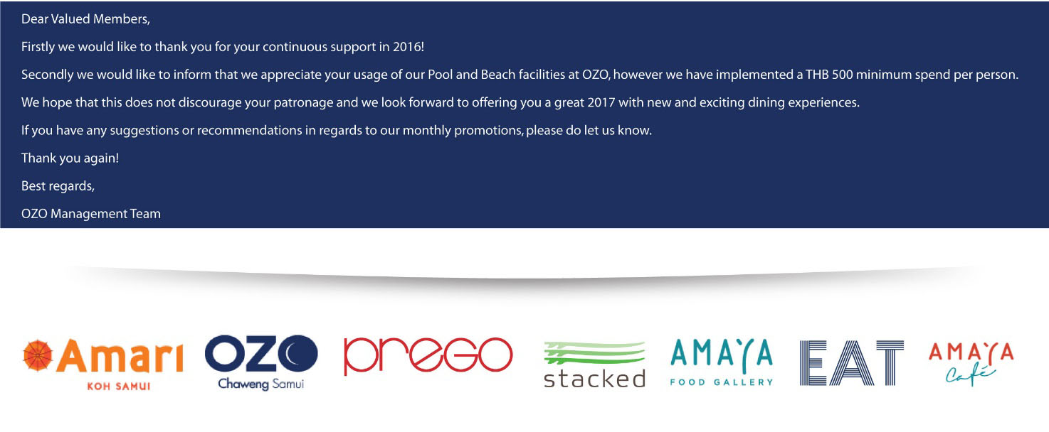 Amari and OZO Dining Card Promotions for February   News by Samui Times