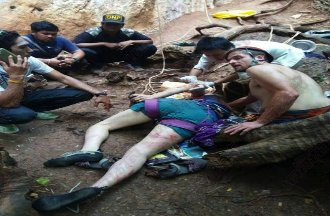 American tourist breaks leg climbing on Railey Bay cliff | Samui Times
