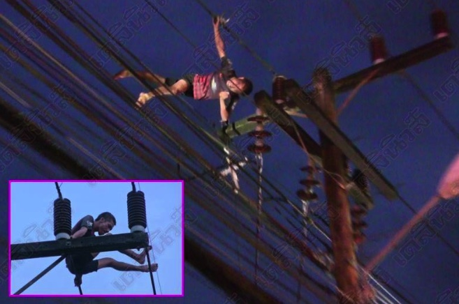Power pole drama as man goes walkabout on the high wires   Samui Times