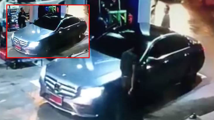 """Policeman"" driving brand new Mercedes-Benz flees without paying for his gas 