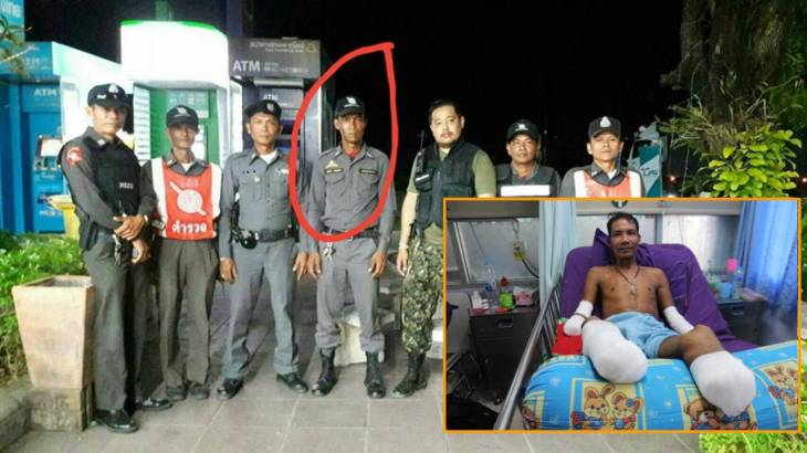 Volunteer cop still fighting despite losing both hands and feet in high voltage accident | Samui Times