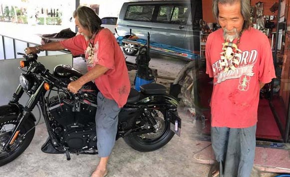 Don't judge a book by its cover! Shabby uncle pulls out 600,000 in cash and drives off on a Harley! | Samui Times