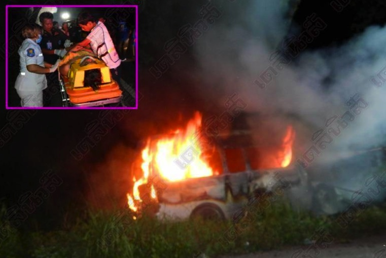 Soldiers and police heroes pull minivan driver from burning wreckage | Samui Times