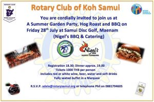 Amazing BBQ offered by Nigel for Rotary Fellowship Dinner on Friday 28th July | News by Samui Times