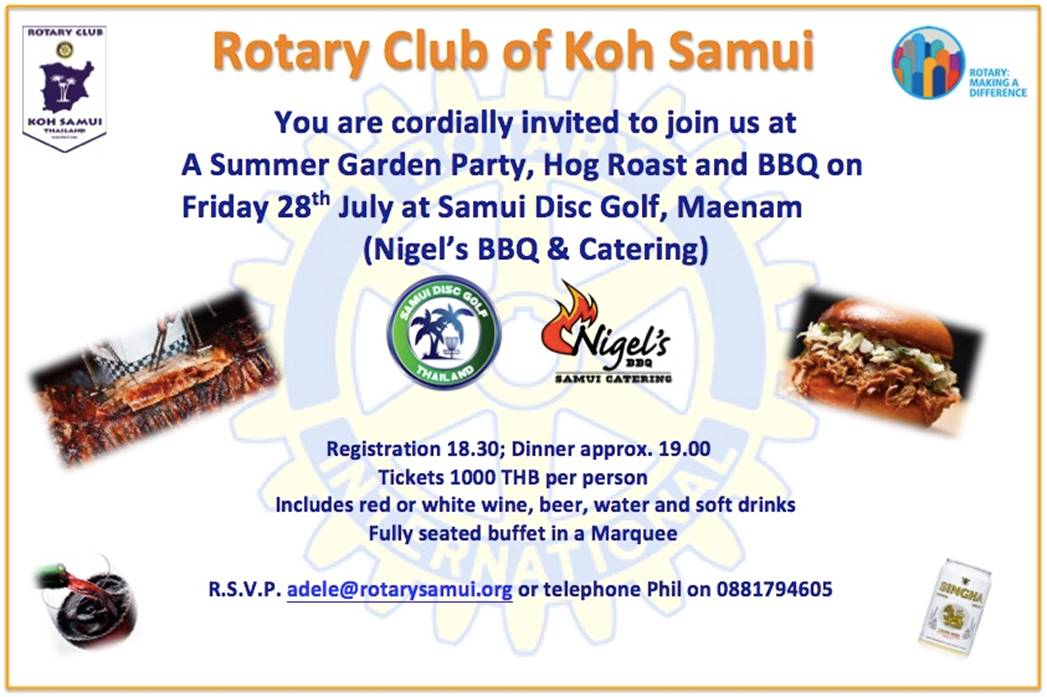Amazing BBQ offered by Nigel for Rotary Fellowship Dinner on Friday 28th July | Samui Times