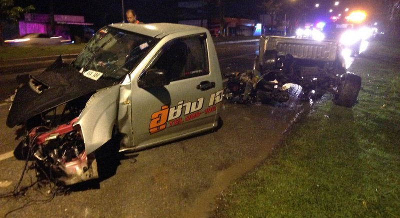 Woman underwear driver survives as Phuket crash rips pickup truck apart | Samui Times