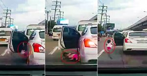 Shocking moment Thai toddler falls from car and narrowly avoids being crushed to death | News by Samui Times