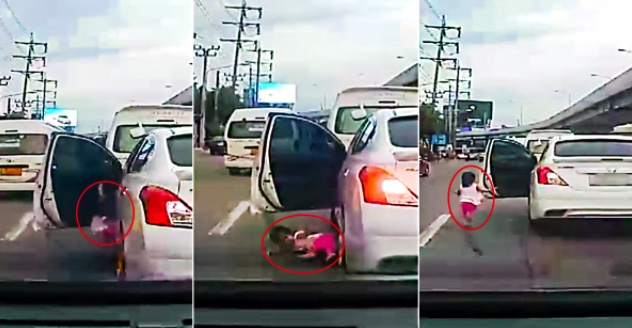 Shocking moment Thai toddler falls from car and narrowly avoids being crushed to death | Samui Times