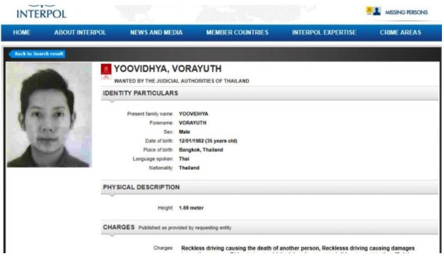 Latest int'l sighting of fugitive Red Bull heir is on Interpol wanted notice…finally   Samui Times