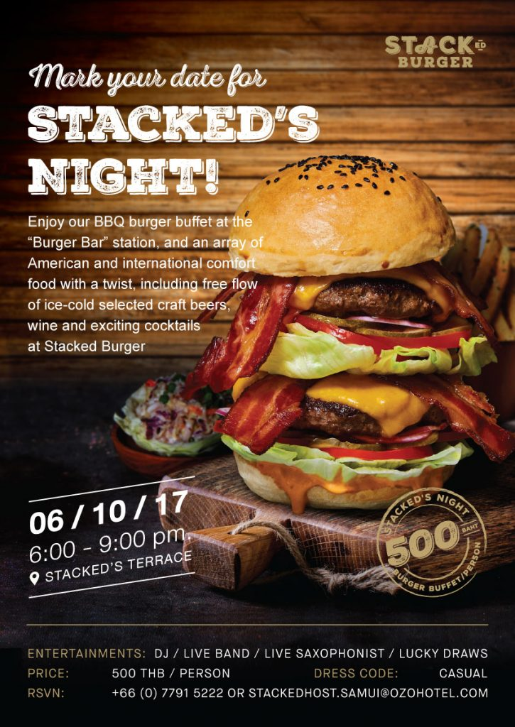 Mark your date for Stacked's Night! 6th October 2017 | News by Samui Times