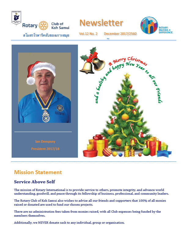 Rotary Club December Newsletter 2017 | Samui Times