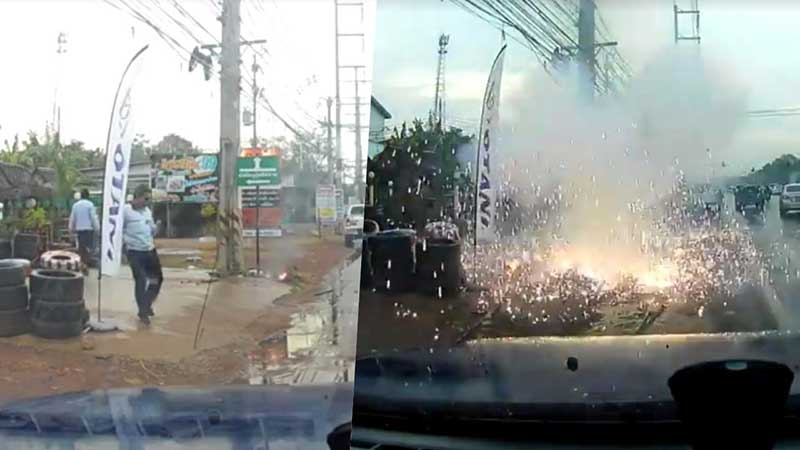 """Man """"cheats death"""" as Thai hanging wires explode like fireworks   Samui Times"""