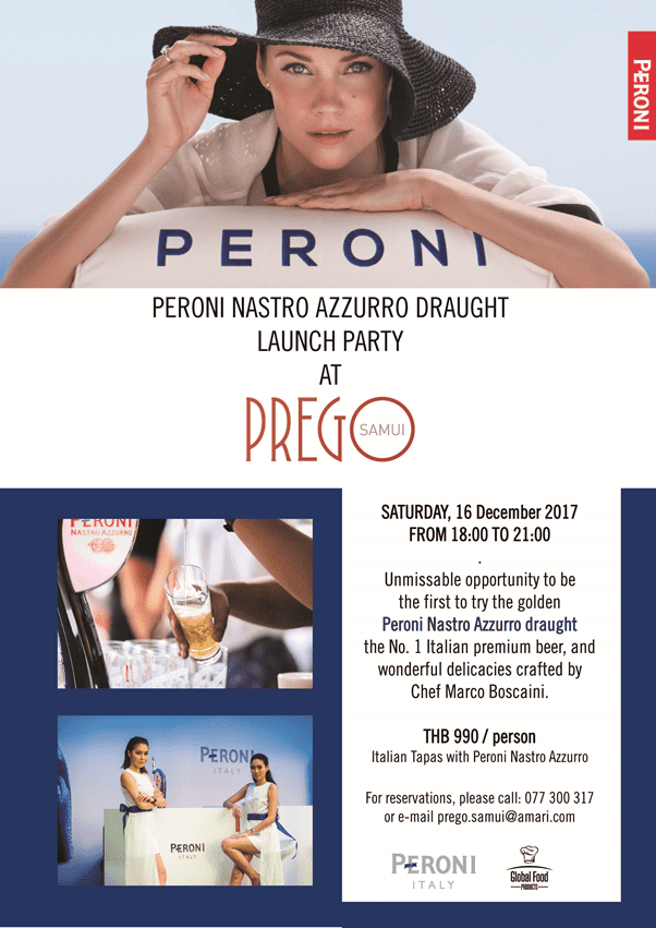 Peroni Nastro Azzurro Draught Launch Party Saturday, 16 December 2017, from 18:00 to 21:00 | News by Samui Times