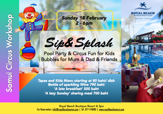 Don't miss the fabulous Sip and Splash party tomorrow (Sunday) at Royal Beach | Samui Times