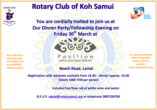 March 2018 Samui Rotary Fellowship Dinner | Samui Times