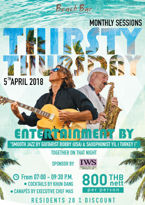 Let's party at Beach Bar, Impiana Resort Chaweng Noi Koh Samui for Thirsty Thursday on the 5th of April! | Samui Times