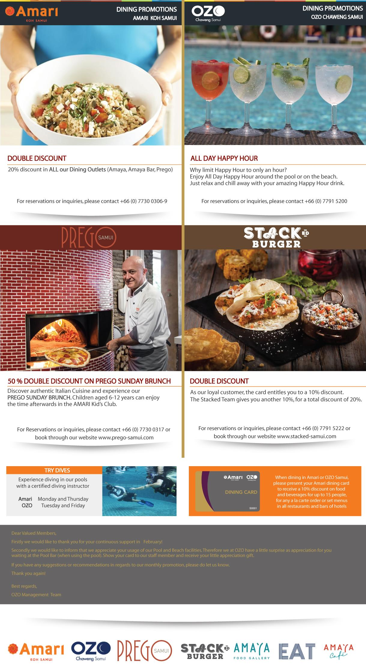 Amari Dining Card newsletter of March 2018 | Samui Times