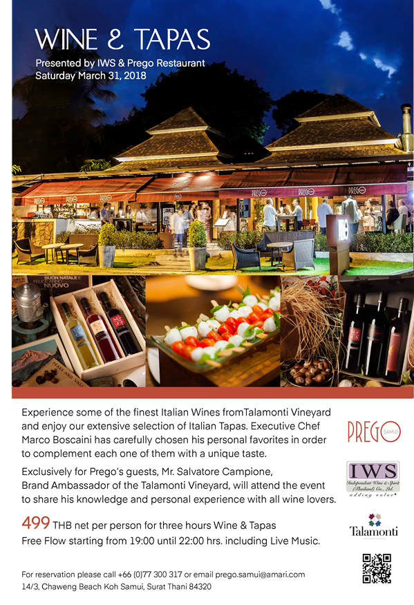 Wine & Tapas – Presented by IWS & Prego Restaurant March 31st | Samui Times