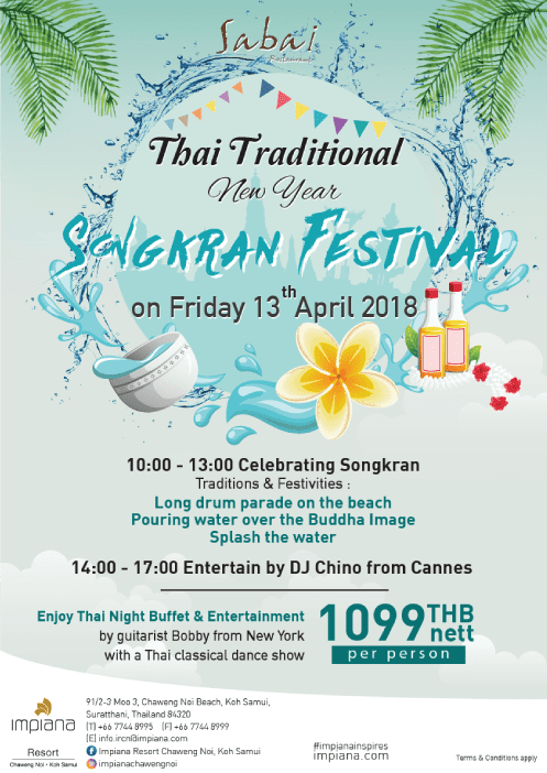 Celebrate the Thai New Year 2018 at Impiana Resort Chaweng Noi | Samui Times