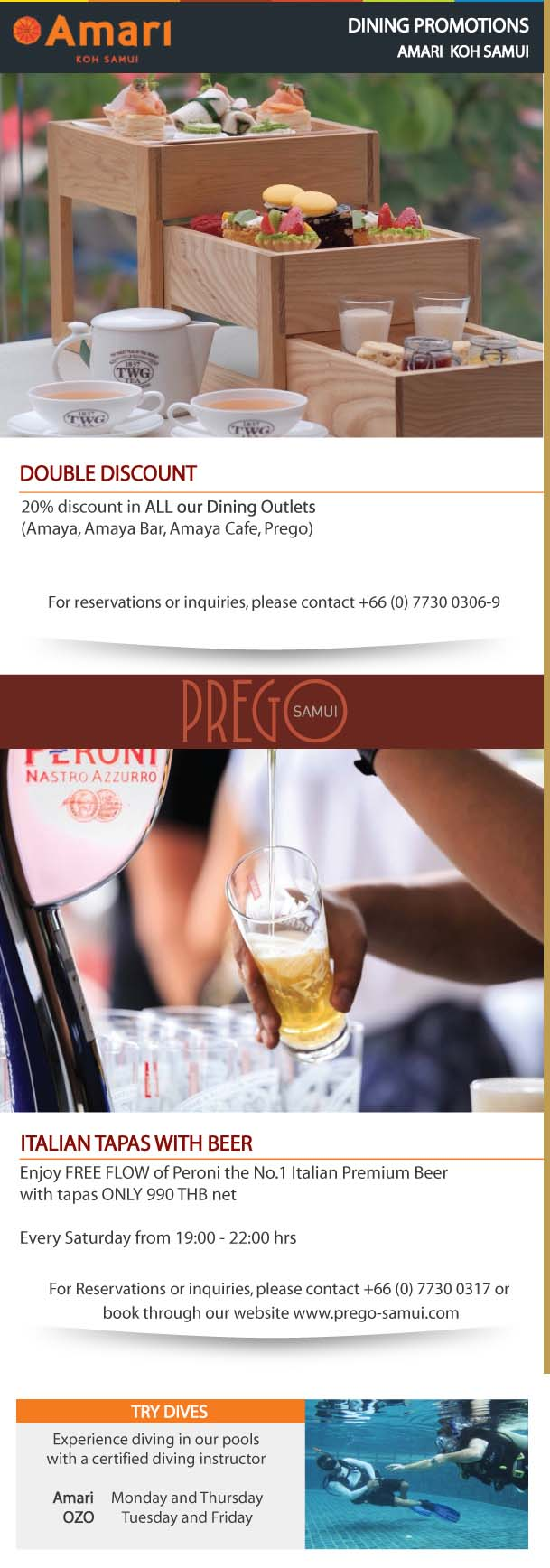 Amari – Dining Card newsletter of May 2018 | Samui Times