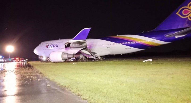 THAI 'jumbo' flight TG 679 skids off Suvarnabhumi runway while landing | Samui Times