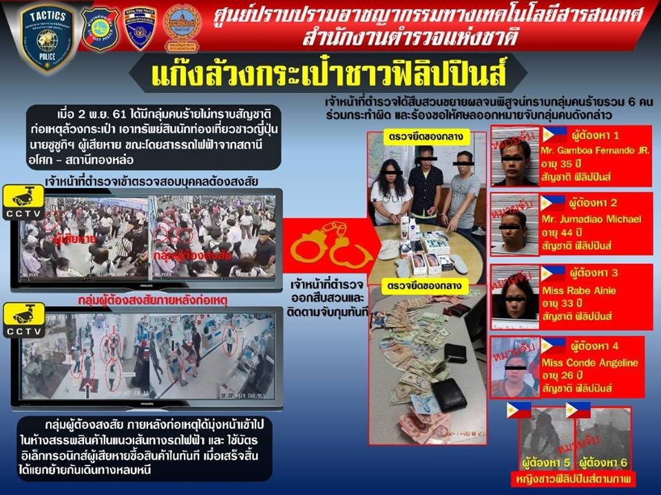 Three Filipino pickpockets targeting foreign tourists on the BTS arrested | Samui Times