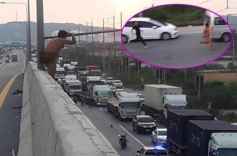 """Naked Thai man in """"Tarzan"""" overpass drama: He refused to take the meds   Samui Times"""