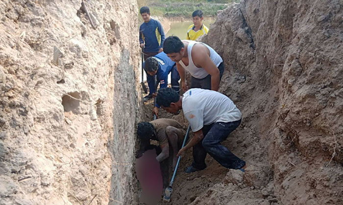 Buried alive! Man digging drainage ditch dies in front of wife and child | Samui Times
