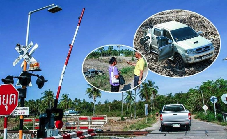 """Grandmother and grandson flee for their lives as train smashes pick-up at """"faulty"""" crossing 