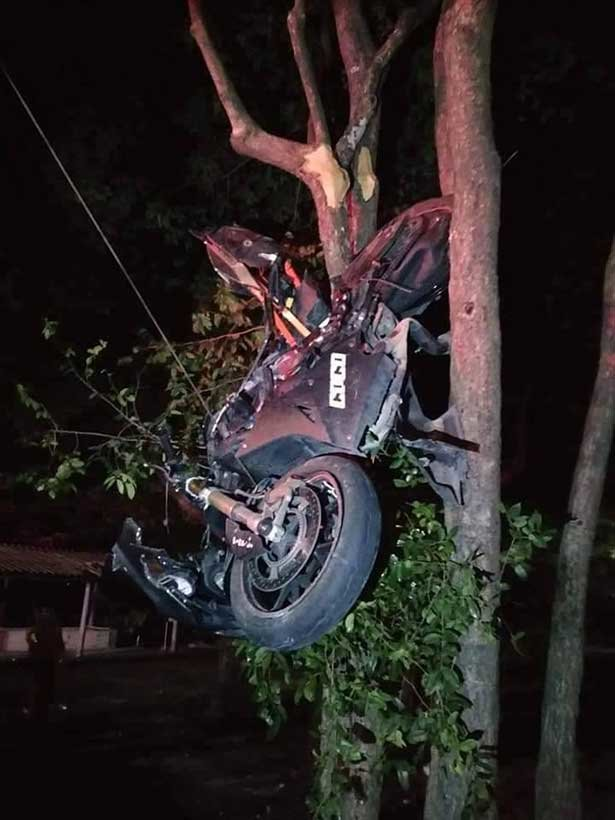Woman's 1000cc BMW ends up hanging in a tree – she's seriously injured in hospital | Samui Times