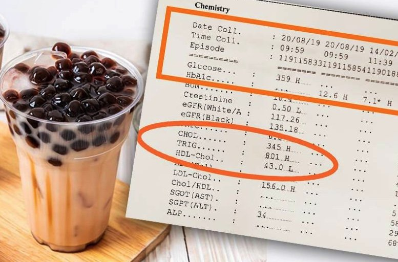 """""""Bubble Tea"""" sends woman's sugar and triglyceride readings through the roof! 