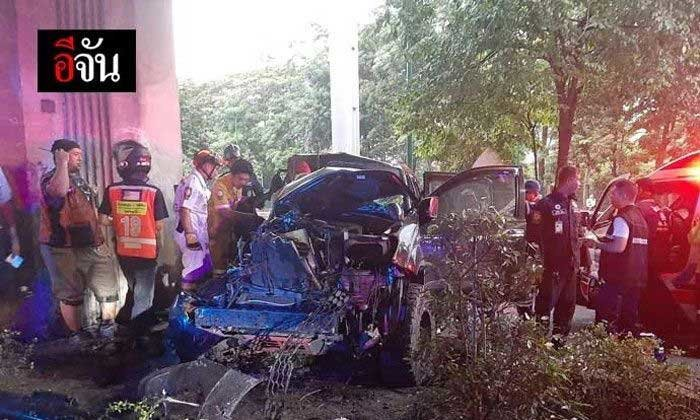 Pick up driver killed after colliding with BTS support pier | Samui Times