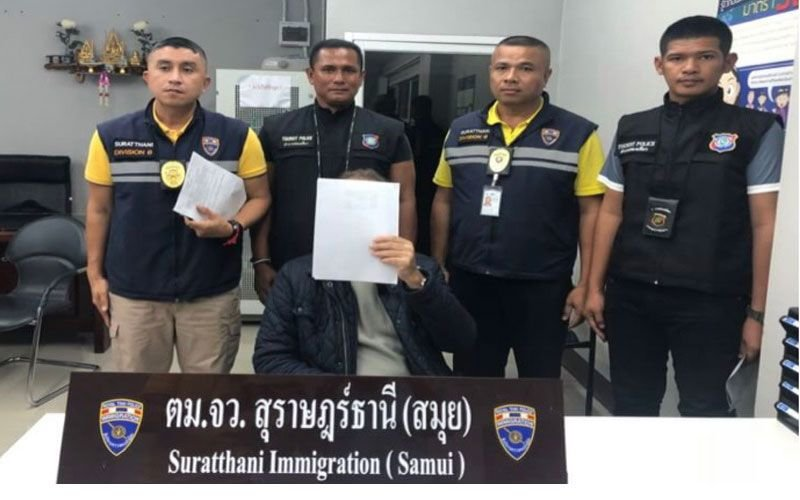 """Large contingent of police waiting to arrest """"no work permit"""" French pensioner in Samui 