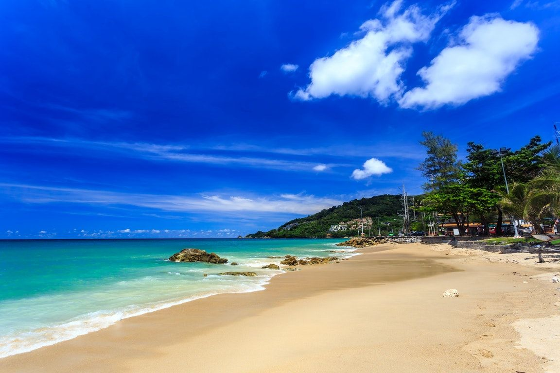 Kalim beach, the top spot for surfing in Thailand.